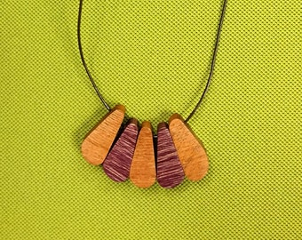 "Handmade wooden necklace 18"" magnetic clip"