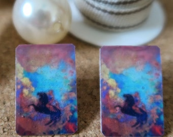 "Earrings Odilon Redon ""Pegasus and the muses"""