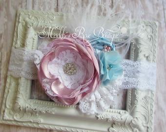 Shabby Chic headband, Handmade flower headband, WEDDING, Flower Girl, Pink and Blue, COUTURE, satin singed flower, baby headband, photo prop