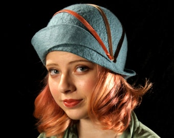 Verdigris Cloche With Orange and Brown Velvet Ribbons - Teal Cloche - Cloche Hat - 1920's Hat - Flapper Hat
