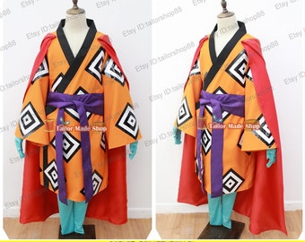 One Piece Jinbei Cosplay Costume red & orange with cape