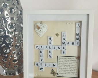 Unique Personalised Scrabble Family Frame
