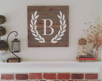 24x24 Wood Sign - Initials, Letters, Family Name - Wreath