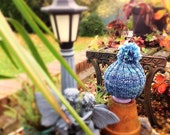 Children's blue hand spun and hand knit hat with bobble