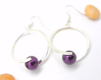 Style earrings hoops purple beads