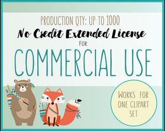 Extended License for Commercial Use of Any Clipart Set - Production Quantity of 1-1000, Commercial Use of Digital Graphics and Clip Art
