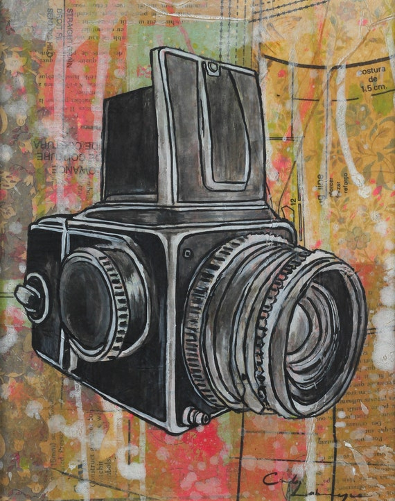 8 x 10 GICLEE print - Hasselblad - mixed media painting by Cindy Labrecque, open edition.