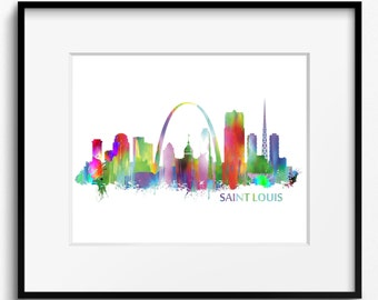 Saint Louis Skyline Watercolor Art Print (049) Cityscape
