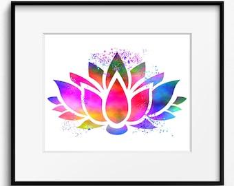 Lotus Flower Watercolor Art Print (402) Yoga Art, Buddha Art
