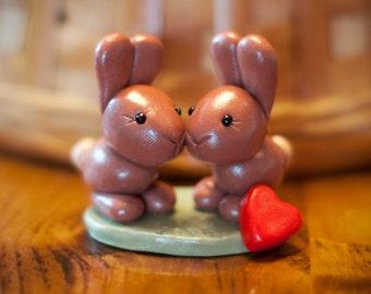 Handmade Polymer Clay Bunnies/Rabbits, Friends/Couple, Love
