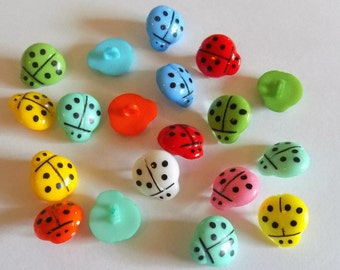 10 Lady Bug Buttons - Sewing - #RS-00003