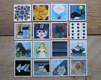 Lot of 16 vintage memory playing cards 70s. Blue - black.