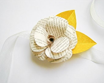 Book Page Paper Corsage, Book Paper Flower Pin, Gold Corsage, Book Paper Wedding Decor, Wrist Corsage, Bridal Shower, Vintage Paper Flower