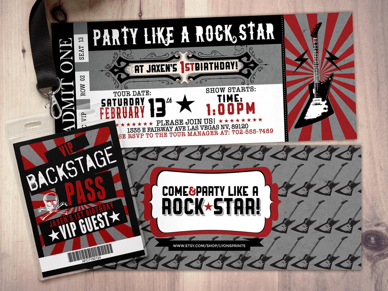 ROCK STAR concert ticket birthday party invitation Music – Concert Ticket Invitation Template