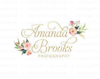 Boutique logo flower logo premade logo gold logo elegant logo design photography logo