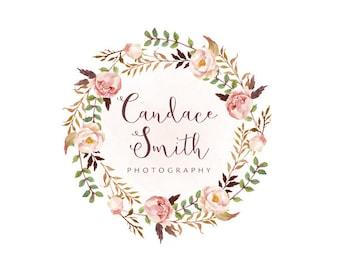 Floral wreath logo premade logo design and watermark photography logo boutique logo bohemian logo watercolor logo