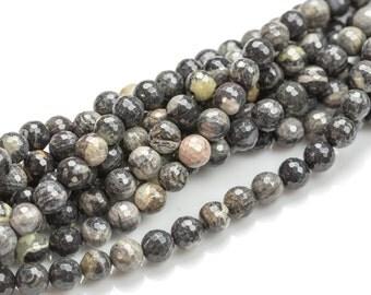 Black Gray Jasper- Faceted Round sizes.  4mm, 6mm, 8mm, 10mm, 12mm, 14mm- Full 15.5 Inch Strand