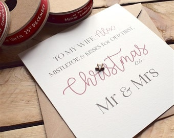 Our First Christmas Card for Mr & Mrs, Handmade, Personalised for Wife or Husband, Mistletoe and Kisses Card