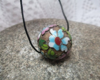 Gillouche Enamel Sphere Pendant, Floral Detail, Bold Colors, Beautiful Circa 1950's