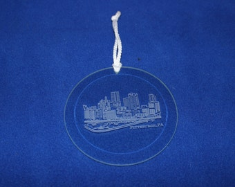 Pittsburgh Skyline Etched Ornament