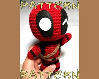 Deadpool Crochet Pattern   Chibi Deadpool Plush   Intermediate Crochet Pattern   Deadpool Amigurumi   Crochet Deadpool   Superhero Plush