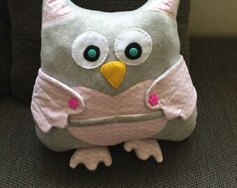 Pink grey owl pillow