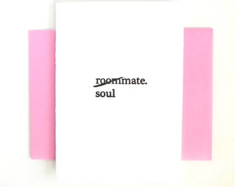 Letterpress Thinking of You Card- Roommate Soulmate- Friendship Friends Forever- Friendaversary