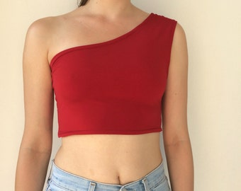 One shoulder Crop Top in Red