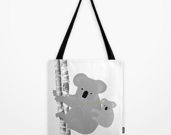 KoalaTote Bag Personalized Color Bears - 13x13 16x16 18x18 - Women Mother Gift for her Birthday Animals Nature Beach Market Everyday Cute