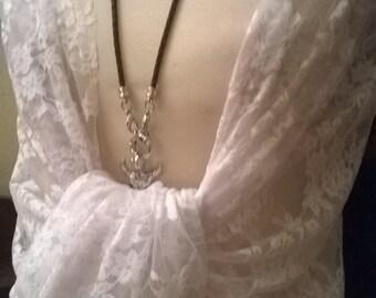 White lace wedding stole