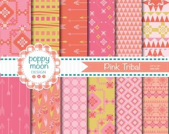 Tribal pinks and oranges,printable digital paper pack