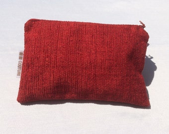 Pouch for makeup, pencil case, toiletries accessoiries, pouch for baby, travel pouch, Fabric Prima Red and Basic Charcoal