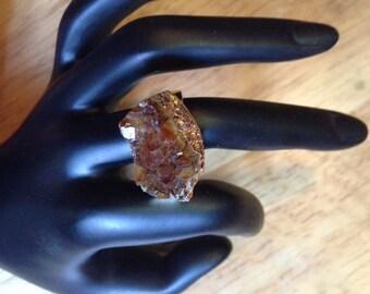 Natural Gold Yellow Crystal Quartz Druzy Ring
