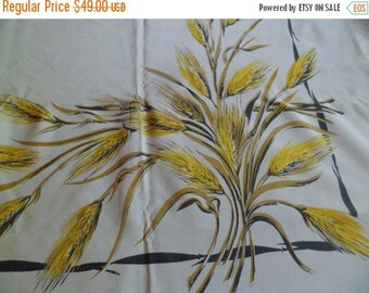 MEMORIAL DAY SALE Vintage California Hand Prints Golden Wheat 52 x 62 Rayon with Sewn in Label