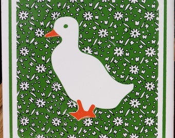 1 J.S.N.Y./JSNY/ Duck with Green and White Calico Flowers Trivet/1980s/Made in Taiwan
