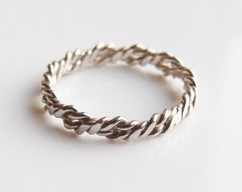 Vintage 925 Sterling Silver Rope Band Ring Size 3 3/4 - G 1/2