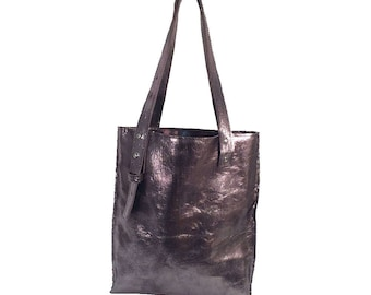 Gunmetal Leather Adjustable Tote