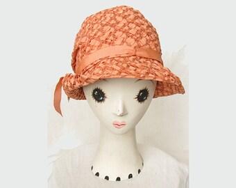 Vintage 1920s Hat Woven Ribbon Cloche Gatsby Flapper