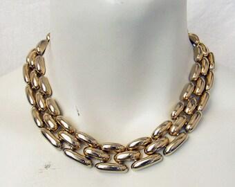 Vintage 1970s LES BERNARD Necklace Heavy Panther Link Chain Choker