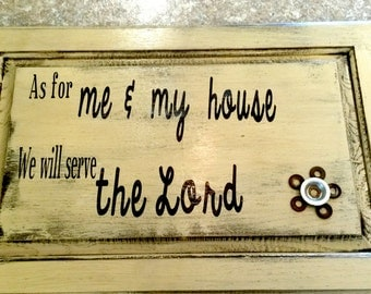 As For Me and My House Sign || As For Me and My House We Will Serve the Lord || Repurposed Cupboard Door