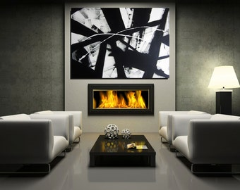 Extra Large MADE TO ORDER Black and White Painting Art Abstract Art Large Contemporary Art Black And White Artwork  Christovart