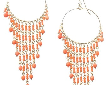 Chandelier Earrings, Orange Earrings, Long Earrings, Coral Earrings, Hoop Chandelier Earrings, Beaded Earrings, Earrings with orange beads