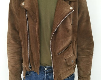 Mens suede biker jacket