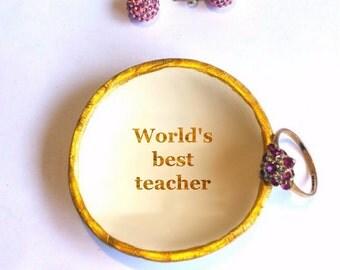 Personalized Teacher Gift Idea, Desk Supplies Organizer, Name Trinket Dish, Worlds Best Teacher Appreciation Supplies Bowl Gold Trinket Bowl
