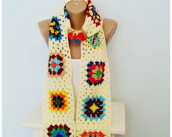 Scarf, Crochet Scarf, Crochet Retro Scarf, Granny Square Scarf, Retro Scarf, Christmas gift,Gift for Her, Gift for His