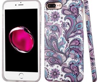 Purple Paisley Flower iPhone 7 Plus / 8 Plus TPU Gel Design Case
