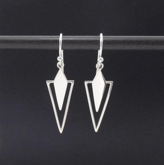 triangle earrings sterling silver dangle earrings triangle. Black Bedroom Furniture Sets. Home Design Ideas