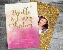 13th Birthday Party Invitation - 5x7 - Watercolor - Gold Glitter - Girl Thirteenth Birthday - Sweet Sixteen - Bat or Bar Mitzvah - PRINTABLE
