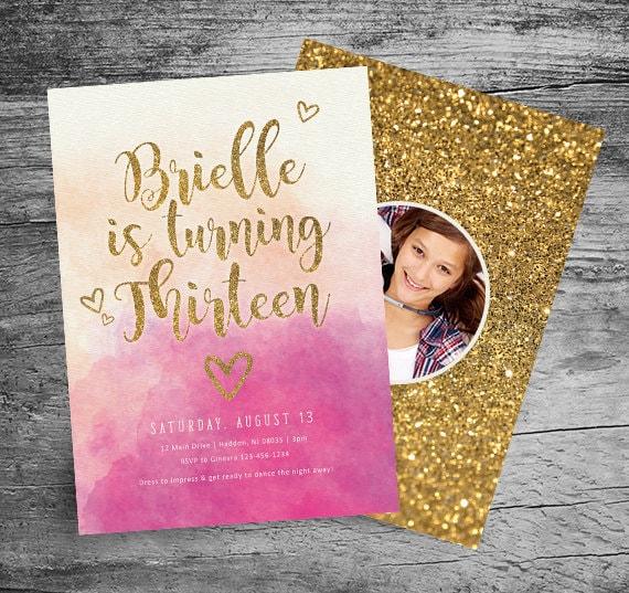 13th Birthday Party Invitation 5x7 Watercolor Gold Glitter