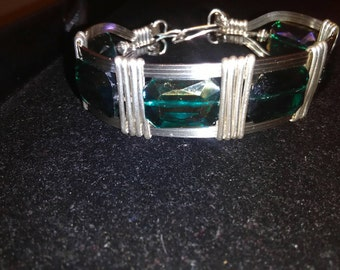 Hand Crafted Wire Wrapped Silver and Blue Crystal Bangle Bracelet